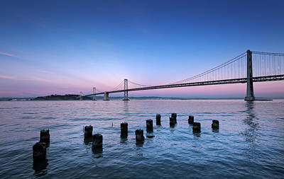 Bay Bridge Photograph - Suspension Bridge Over Pacific Ocean by Panoramic Images
