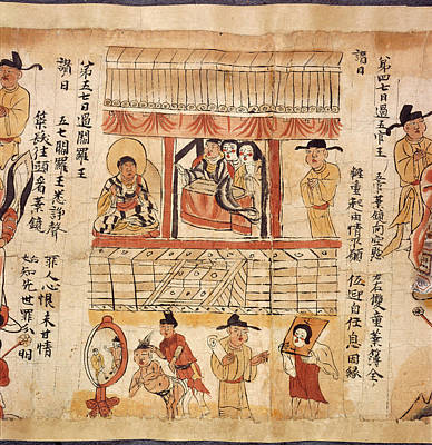 Sutra Of The Ten Kings Art Print by British Library