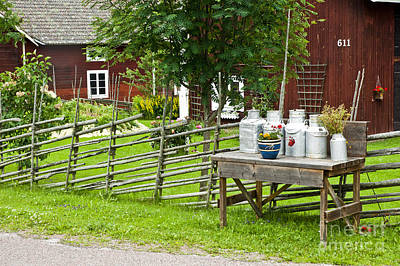 Old Milk Jugs Photograph - Sweden by Micah May