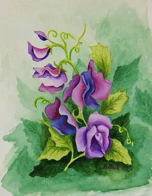 Sweet Peas Art Print by Katherine Young-Beck