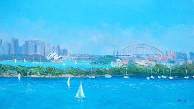 Australian Holiday Painting - Sydney Harbour And The Opera House By Jan Matson by Jan Matson