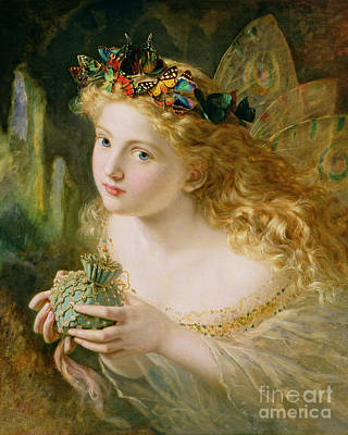 Butterfly Flowers Painting - Take The Fair Face Of Woman by Sophie Anderson