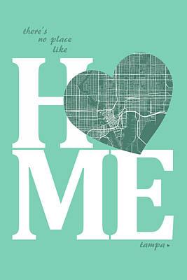 Tampa Bay Digital Art - Tampa Street Map Home Heart - Tampa Florida Road Map In A Heart by Jurq Studio