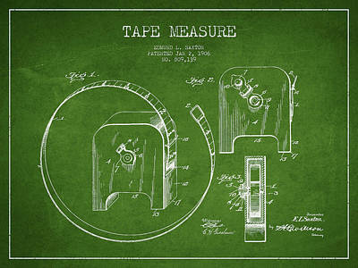 Woodwork Digital Art - Tape Measure Patent Drawing From 1906 by Aged Pixel