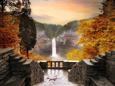 Autumn Landscape Digital Art - Taughannock Falls by Jessica Jenney