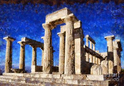 Blue Painting - Temple Of Aphaia Athena by George Atsametakis