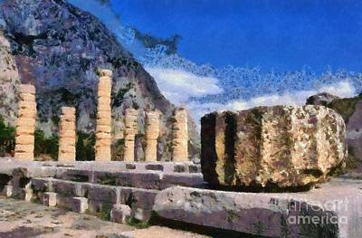 Painting - Temple Of Apollo In Delphi by George Atsametakis
