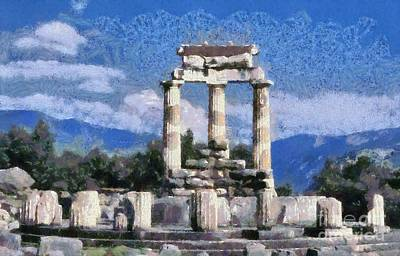 Painting - The Tholos At The Temple Of Athena Pronaia In Delphi IIi by George Atsametakis