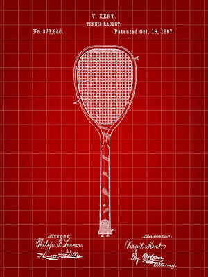 Tennis Racket Patent 1887 - Red Art Print by Stephen Younts