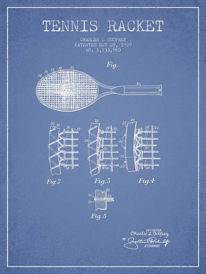 Tennnis Racket Patent Drawing From 1929 Art Print