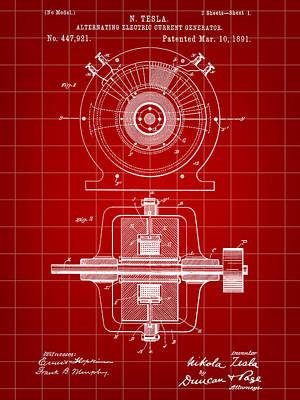 Resistor Digital Art - Tesla Alternating Electric Current Generator Patent 1891 - Red by Stephen Younts