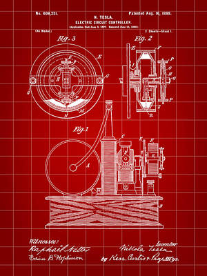 Resistor Digital Art - Tesla Electric Circuit Controller Patent 1897 - Red by Stephen Younts