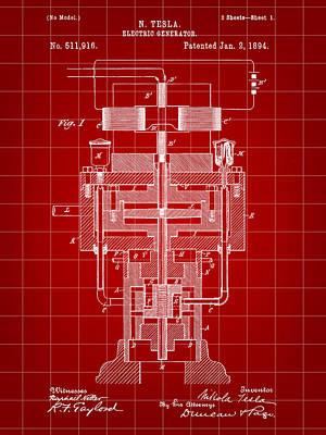 Resistor Digital Art - Tesla Electric Generator Patent 1894 - Red by Stephen Younts