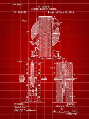 Tesla Electro Magnetic Motor Patent 1889 - Red Art Print