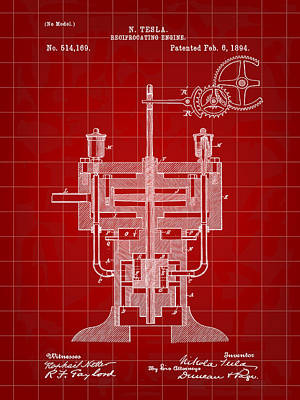 Resistor Digital Art - Tesla Reciprocating Engine Patent 1894 - Red by Stephen Younts
