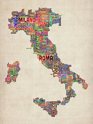 Cartography Wall Art - Digital Art - Text Map Of Italy Map by Michael Tompsett
