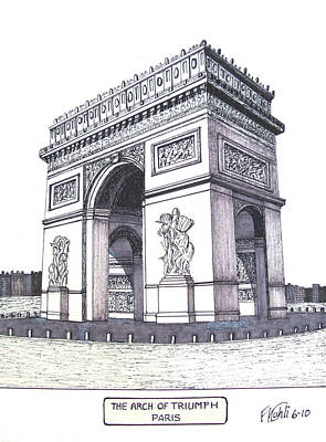 Pen And Ink Historic Buildings Drawings Drawing - The Arch Of Triumph by Frederic Kohli