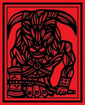 Minotaur Drawing - Scheiern Minotaur Red Black by Eddie Alfaro