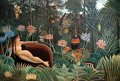 Surrealism Royalty Free Images - The Dream Royalty-Free Image by Henri Rousseau