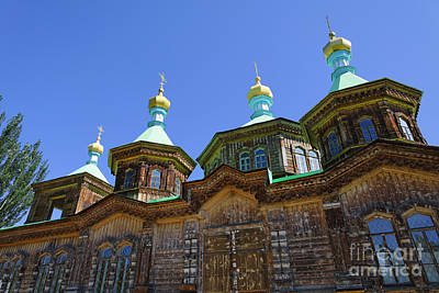 Holy Trinity Cathedral Photograph - the Russian Orthodox Holy Trinity Cathedral at Karakol in Kyrgyzstan by Robert Preston
