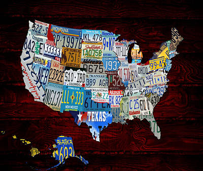 The Usa License Tag Map 3s Art Print by Brian Reaves