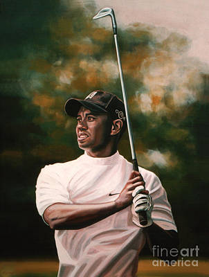 Tennis Painting - Tiger Woods  by Paul Meijering