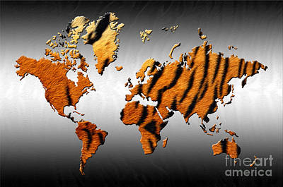 Digital Art - Tiger World Map by Zaira Dzhaubaeva