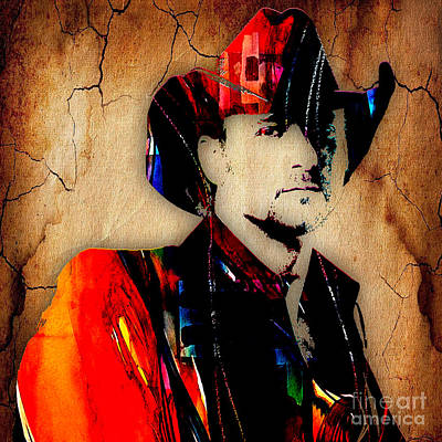 Tim Mcgraw Collection Art Print by Marvin Blaine