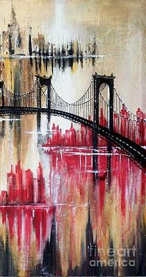 Brooklyn Bridge Painting - 3 Times New York by Jose Luis Reyes