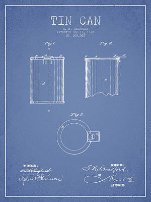 Beer Royalty-Free and Rights-Managed Images - Tin Can Patent Drawing from 1878 by Aged Pixel