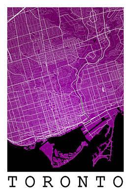 Toronto Digital Art - Toronto Street Map - Toronto Canada Road Map Art On Colored Back by Jurq Studio