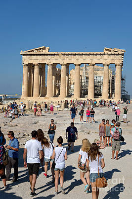 Parthenon Photograph - Tourists In Acropolis Of Athens In Greece by George Atsametakis