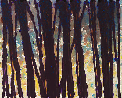 Colorchrome Scans Painting - Trees At Twilight Ix by Jerome Lawrence