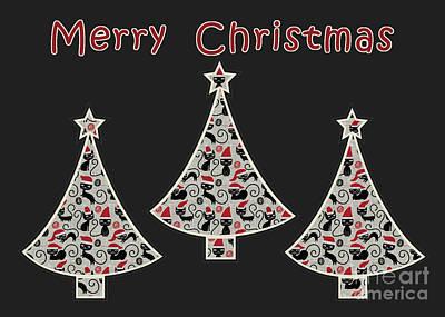 Christmas Cards Digital Art - 3 Trees Santa Cat - Black Christmas Greeting Card by Aimelle