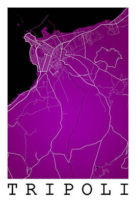 Typographic World Rights Managed Images - Tripoli Street Map - Tripoli Libya Road Map Art on Color Royalty-Free Image by Jurq Studio