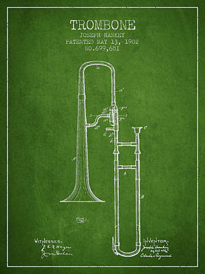 Trombone Drawing - Trombone Patent From 1902 - Green by Aged Pixel