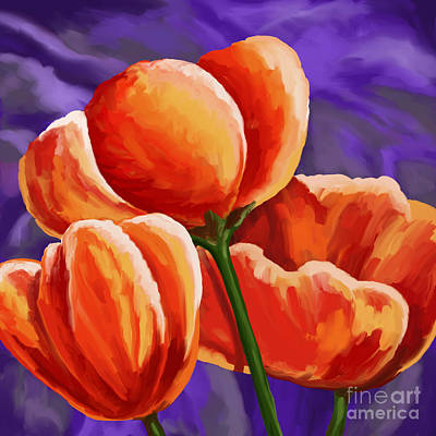 Painting - 3 Tulips Red Purple by Tim Gilliland