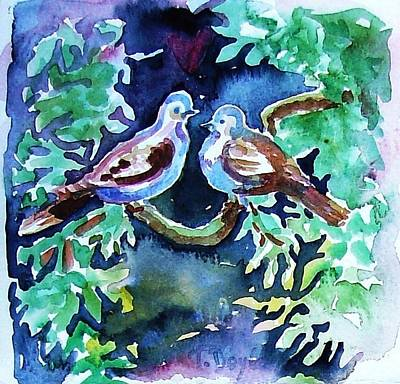 12 Days Of Christmas Painting - Two Turtle  Doves by Trudi Doyle