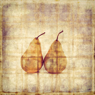 Wall Art - Photograph - Two Yellow Pears On Folded Linen  by Carol Leigh
