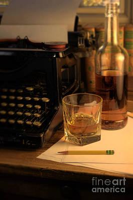 Typewriter And Whiskey Art Print by Jill Battaglia