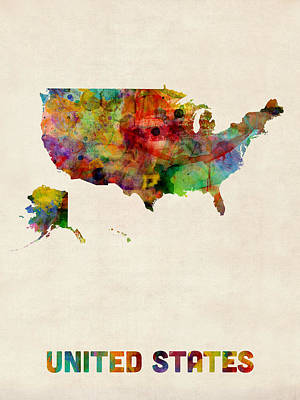 Digital Art - United States Watercolor Map by Michael Tompsett