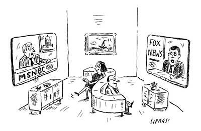 Fox Drawing - New Yorker November 14th, 2016 by David Sipress