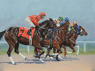 Horse Racing Painting - Untitled  by Lesley Alexander
