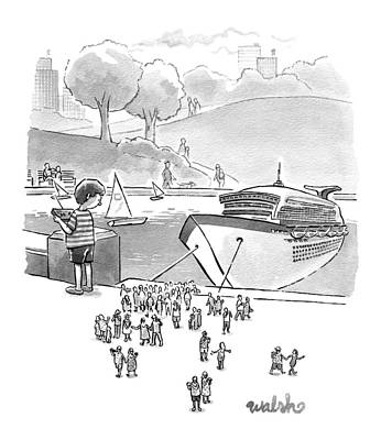 Boat Basins Drawing - New Yorker August 8th, 2016 by Liam Walsh