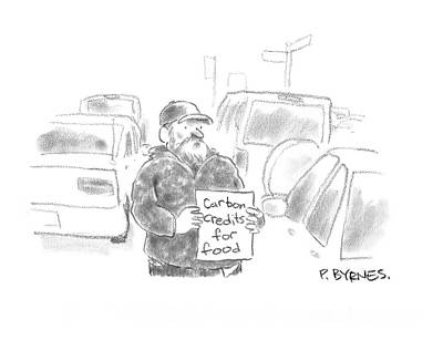 Beggars Drawing - New Yorker March 24th, 2008 by Pat Byrnes