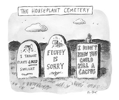 House Plant Drawing - New Yorker December 19th, 2016 by Roz Chast