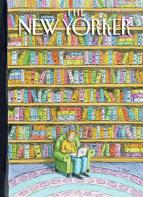 Library Painting - New Yorker October 18th, 2010 by Roz Chast