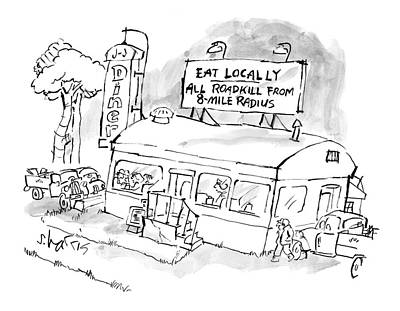 Roadkill Drawing - New Yorker November 24th, 2008 by Sidney Harris