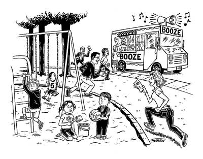 Playground Drawing - New Yorker July 21st, 2008 by Ward Sutton