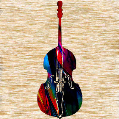 Bass Mixed Media - Upright Bass by Marvin Blaine